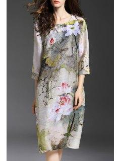 Loose Vintage Print Knee Length Dress With Cami Tank Top - Gray M