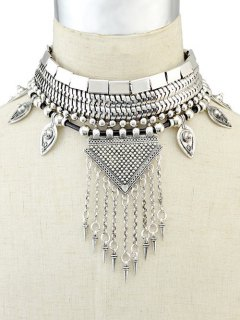 Triangle Fringed Metal Choker - Silver