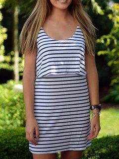 Striped Popover Dress - White S