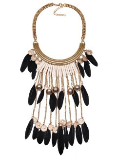 Faux Pearl Feather Coins Necklace - Black