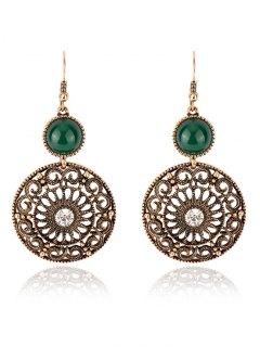 Rhinestone Filigree Floral Earrings - Green