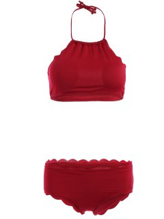 Halter Neck Scalloped Bikini Set - Wine Red S