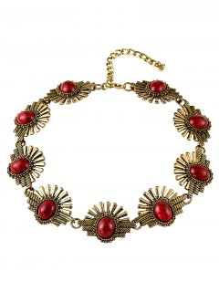 Faux Stone Sunrise Necklace - Red