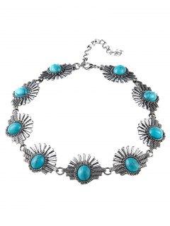 Faux Turquoise Sunrise Necklace - Blue