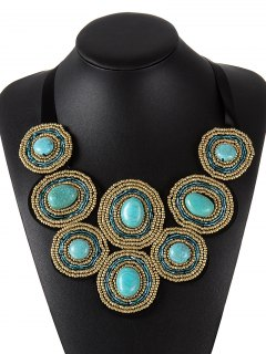 Beaded Faux Turquoise Necklace - Blue