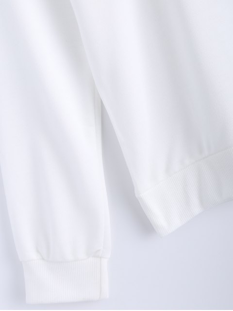 sale Pure Color Sweatshirt - WHITE S Mobile