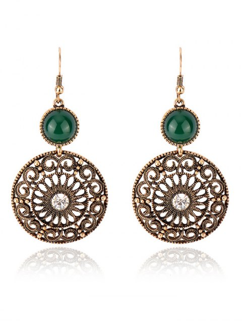 affordable Rhinestone Filigree Floral Earrings - GREEN  Mobile