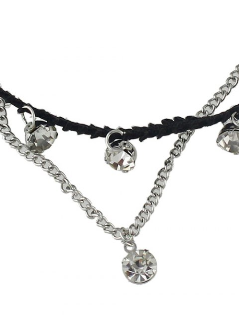 lady Rhinestone Multilayered Chain Anklet - SILVER  Mobile