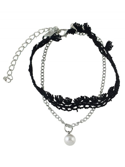 best Faux Pearl Tassel Anklet - SILVER  Mobile