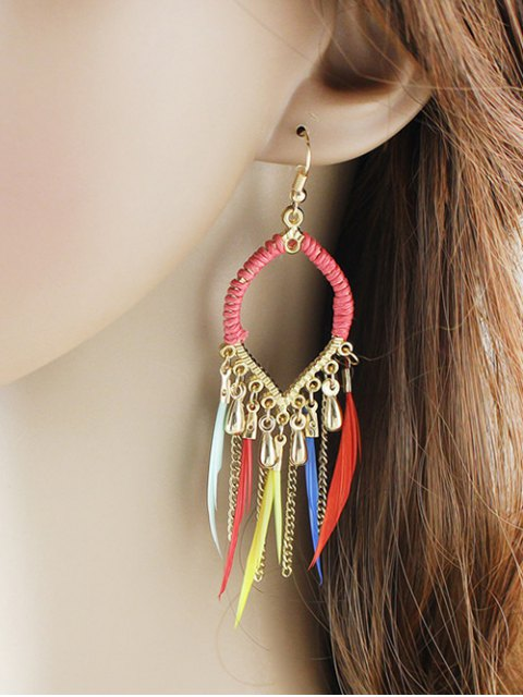 women Water Drop Feather Earrings - COLORMIX  Mobile