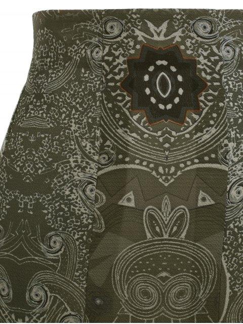 online Printed Pleated Bohemian Skirt - GREEN S Mobile