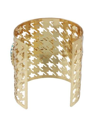 Faux Rammel Oval Cuff Bracelet - GOLDEN  Mobile