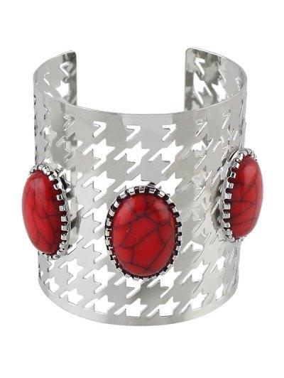 Faux Rammel Oval Cuff Bracelet - SILVER  Mobile