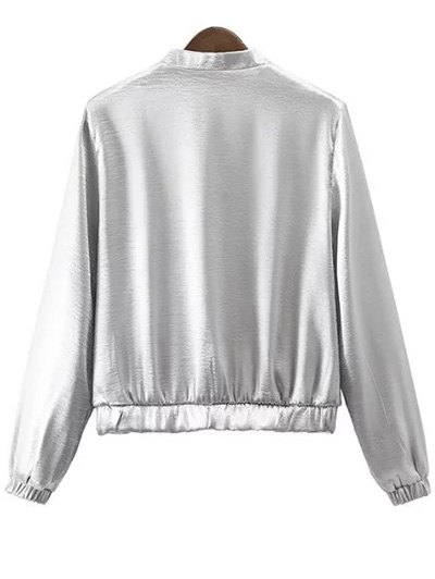 Silver Stand Neck Silver Zipper Up Jacket - SILVER L Mobile