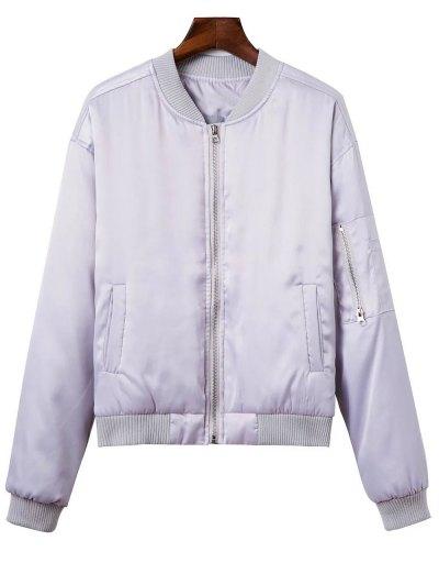 Zipped Windbreaker Jacket - SILVER M Mobile