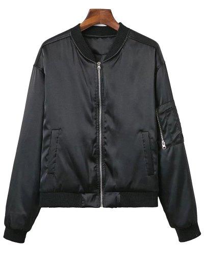 Zipped Windbreaker Jacket - BLACK M Mobile