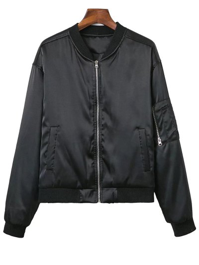 Zipped Windbreaker Jacket - BLACK S Mobile