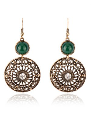 Rhinestone Filigree Floral Earrings - Green