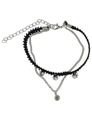 Rhinestone Multilayered Chain Anklet - Silver