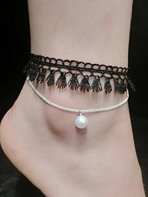Faux Pearl Tassel Anklet - Silver