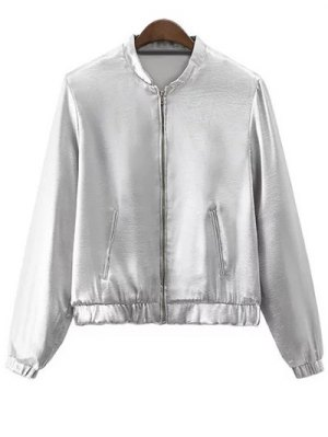 Silver Stand Neck Silver Zipper Up Jacket - Silver
