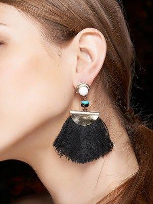 Bead Semicircle Tassel Earrings