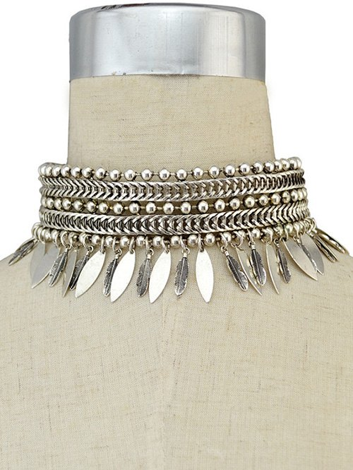 Leaf Fringed Metal Choker Necklace