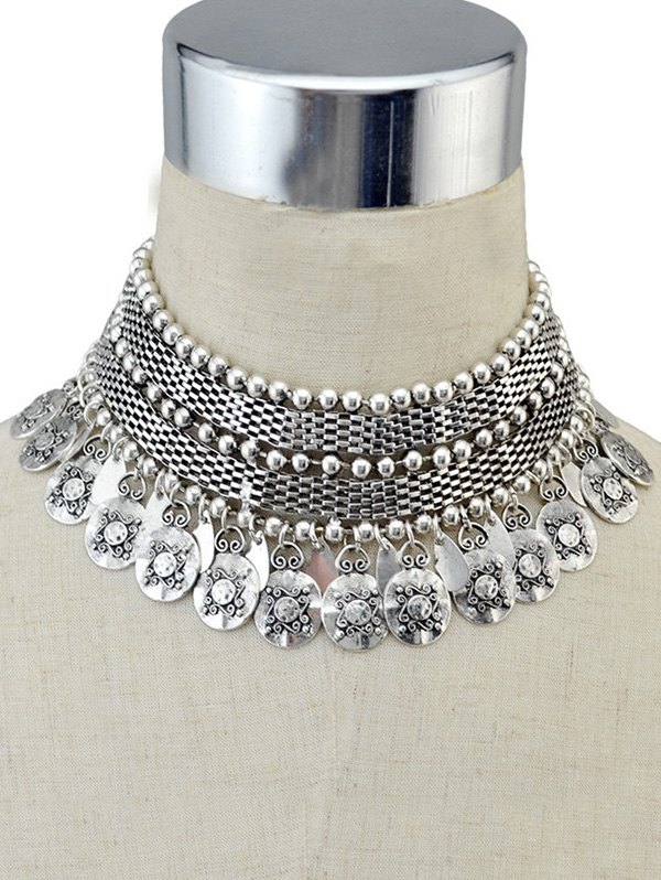 Coin Fringed Metal Choker Necklace