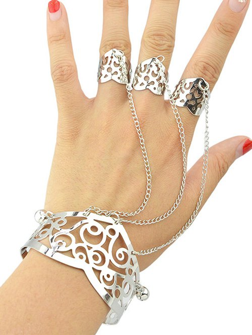 Hollow Out Bracelet With Ring
