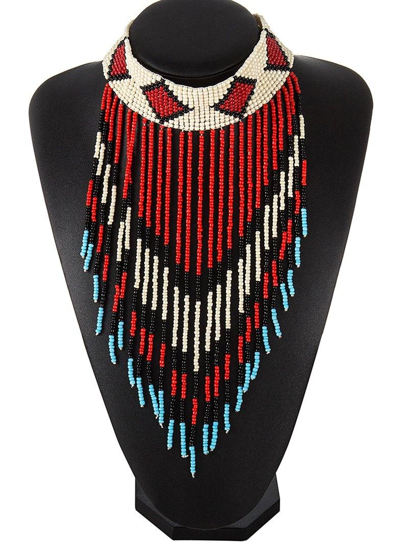 Color Block Beads Fringe Choker Necklace