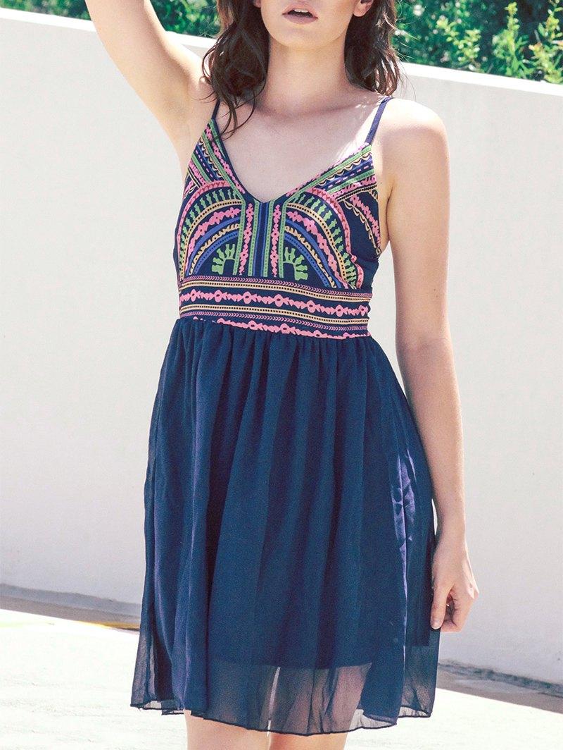 Spaghetti Strap Color Block Print Sleeveless Dress