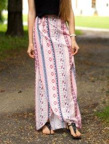 Ethnic Print A Line Slit Skirt