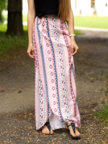 Ethnic Print A Line Slit Skirt - Pink S