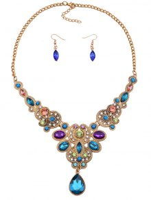 Buy Adorn Water Drop Necklace Earrings BLUE