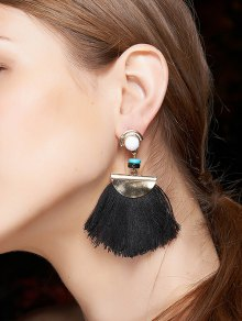 Bead Semicircle Tassel Earrings