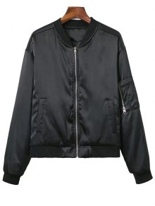 Zipped Windbreaker Jacket - Black Xs