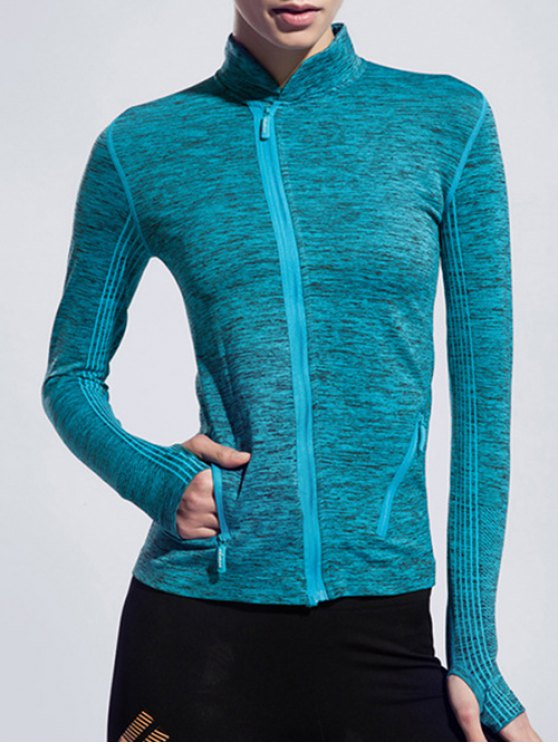 outfits Stand Collar Space-Dyed Long Sleeve Jacket - LAKE BLUE L