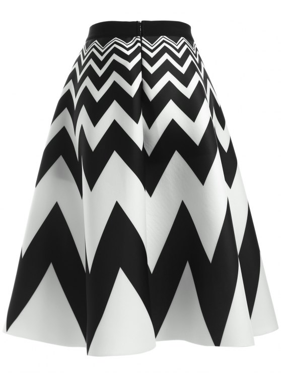 Zig Zag High Waisted Skirt - WHITE AND BLACK ONE SIZE Mobile