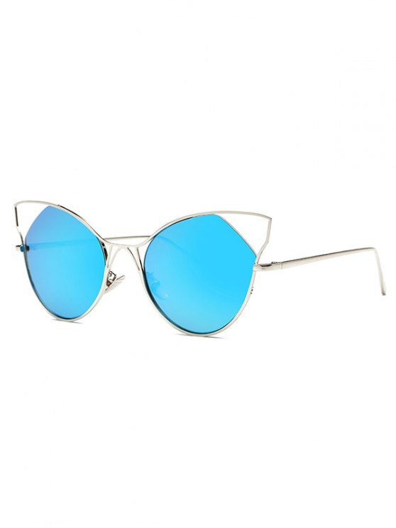 latest Cut Out Cat Ear Mirrored Sunglasses - LIGHT BLUE