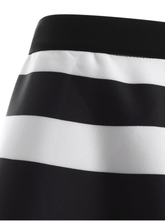 Striped High Waisted Skirt - WHITE AND BLACK ONE SIZE Mobile