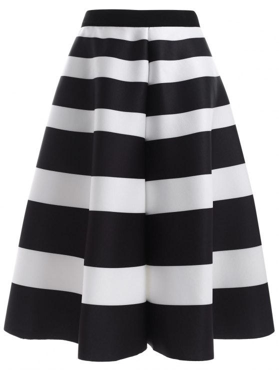 Striped High Waisted Skirt WHITE AND BLACK: Skirts ONE SIZE | ZAFUL