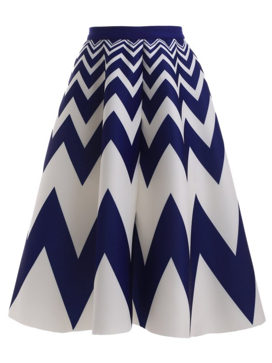 fashion High Waisted Zig Zag Skirt - BLUE AND WHITE ONE SIZE