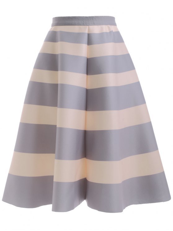 chic High Waisted Striped Skirt - LIGHT GRAY ONE SIZE