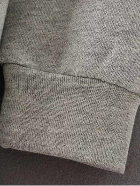 Fringed Grey Sweatshirt Dress - GRAY M Mobile