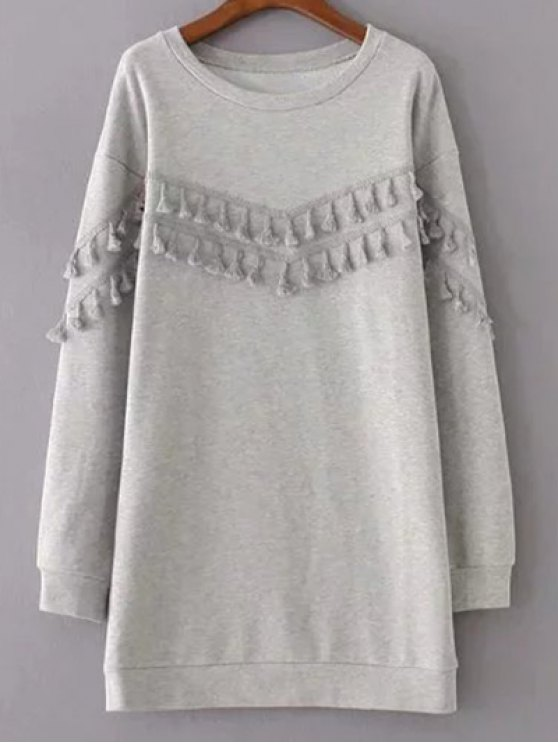 outfit Fringed Grey Sweatshirt Dress - GRAY L
