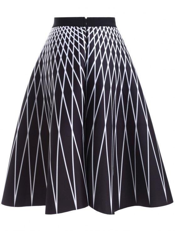 High Waisted Geometric Print Skirt - BLACK ONE SIZE Mobile