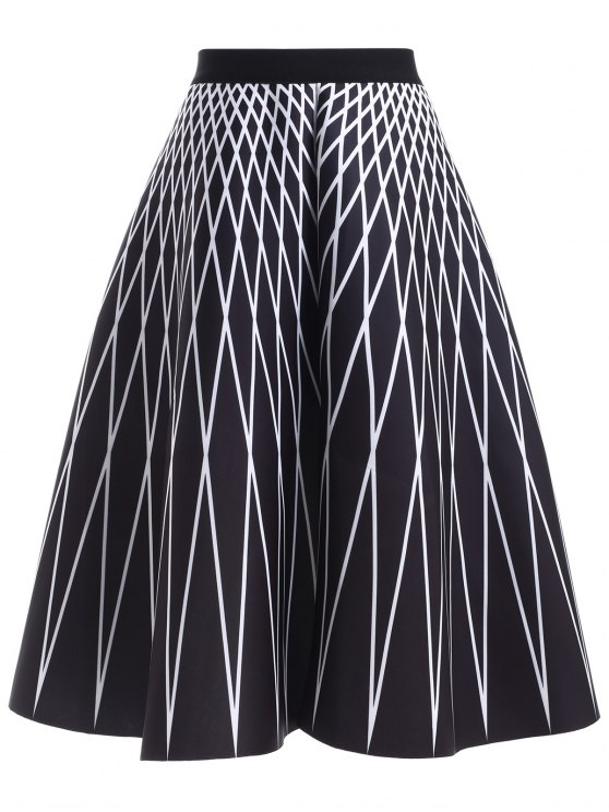 affordable High Waisted Geometric Print Skirt - BLACK ONE SIZE
