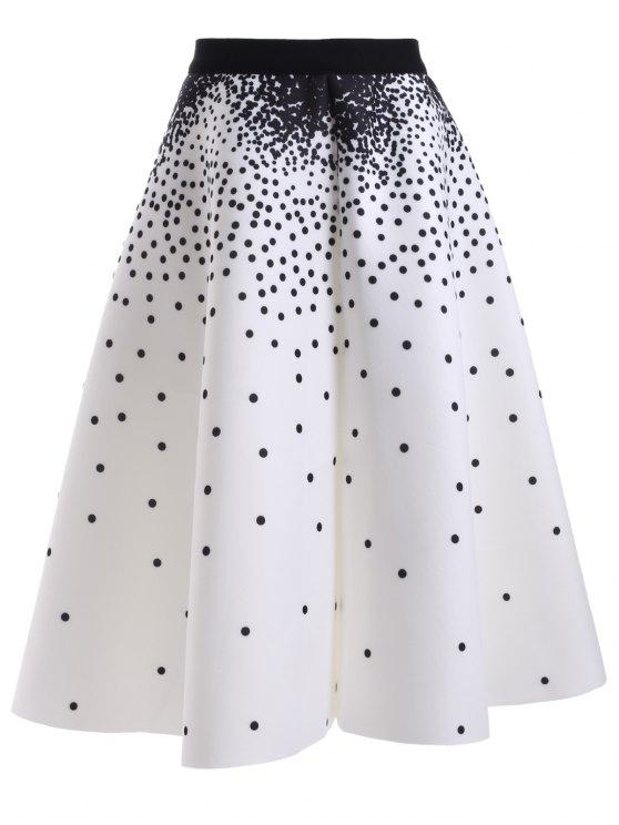 buy High Waisted Polka Dot Print Skirt - WHITE ONE SIZE