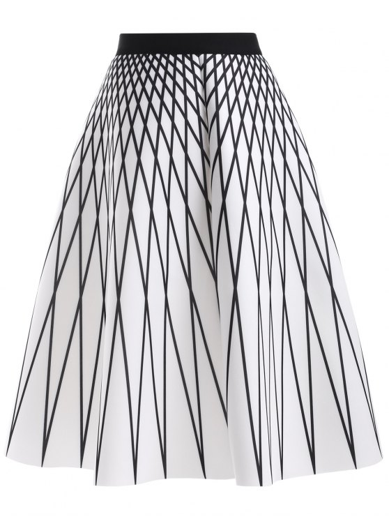 women's Argyle Pattern High Waisted Skirt - WHITE ONE SIZE