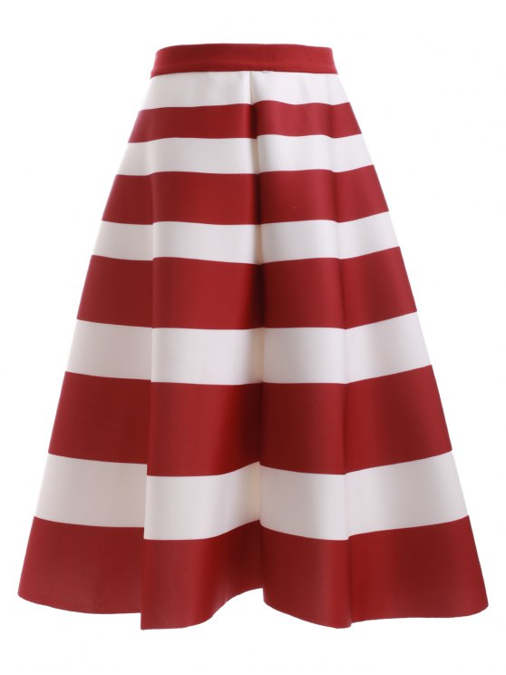 Jupe taille haute Stripes - Rouge et Blanc TAILLE MOYENNE